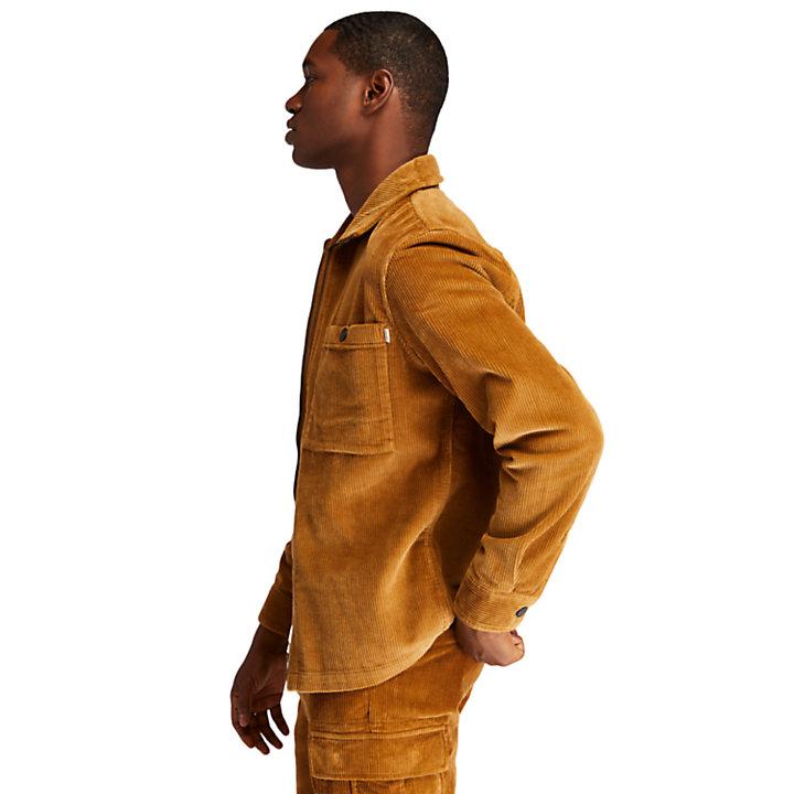 Cord-Hemdjacke mit Reißverschluss für Herren in Braun-