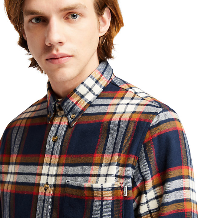 Heavy Flannel Check Shirt for Men in Navy-