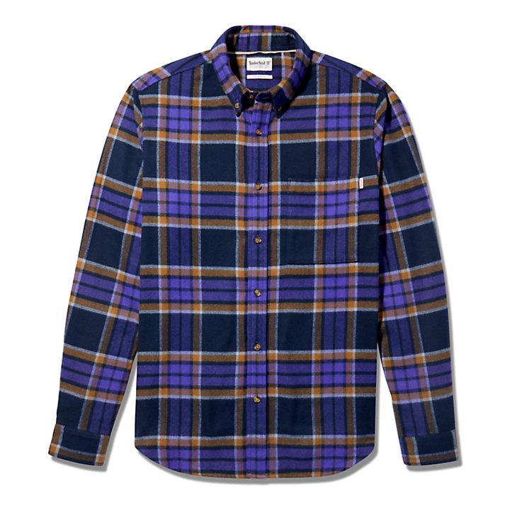 Heavy Flannel Check Shirt for Men in Dark Blue-