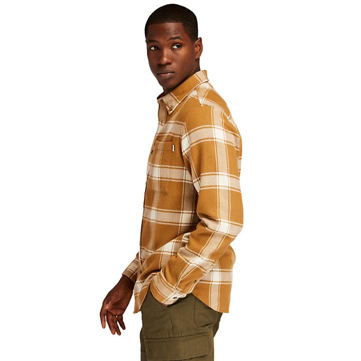 Chemise à carreaux en flanelle épaisse pour homme en marron-