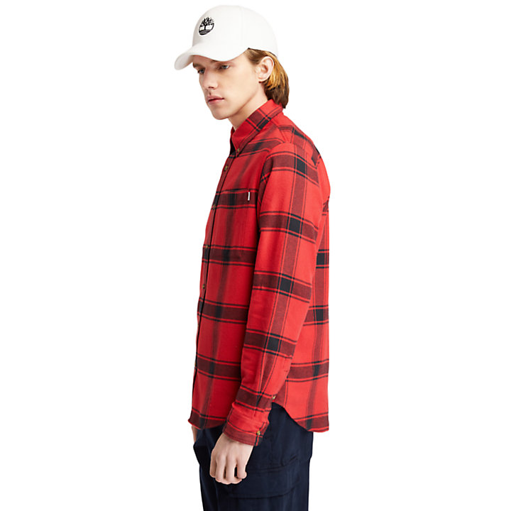 Heavy Flannel Checked Shirt for Men in Red-