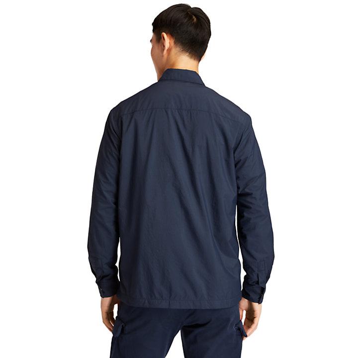 Giacca-camicia da Uomo a Tinta Unita in blu marino-