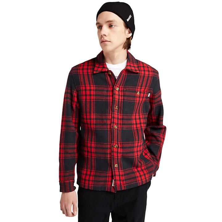 Schwere Herren-Hemdjacke mit Fischgrätmuster in Rot-