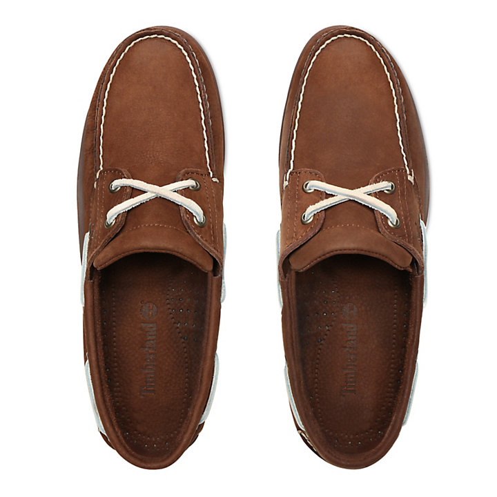 Classic 2-Eye Boat Shoe for Men in Brown-