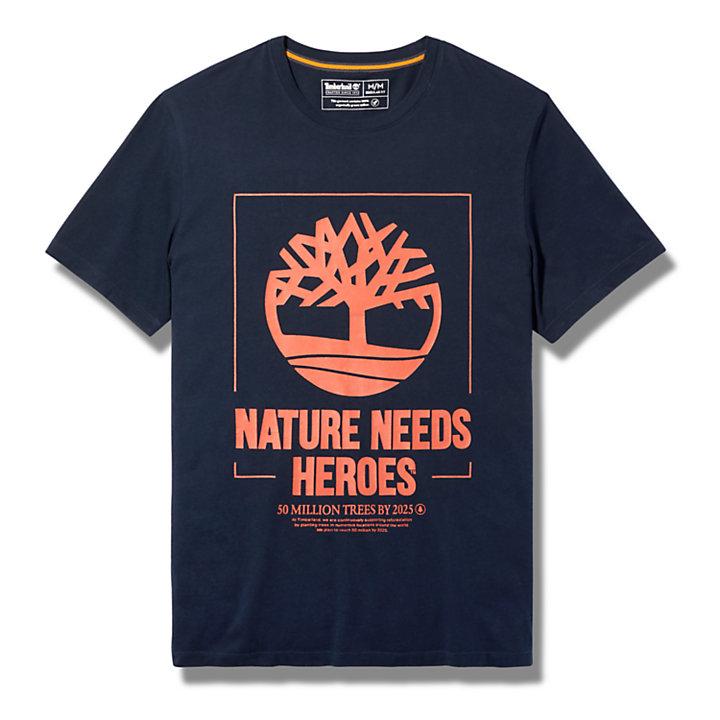 T-shirt da Uomo con Grafica Nature Needs Heroes™ in blu marino-