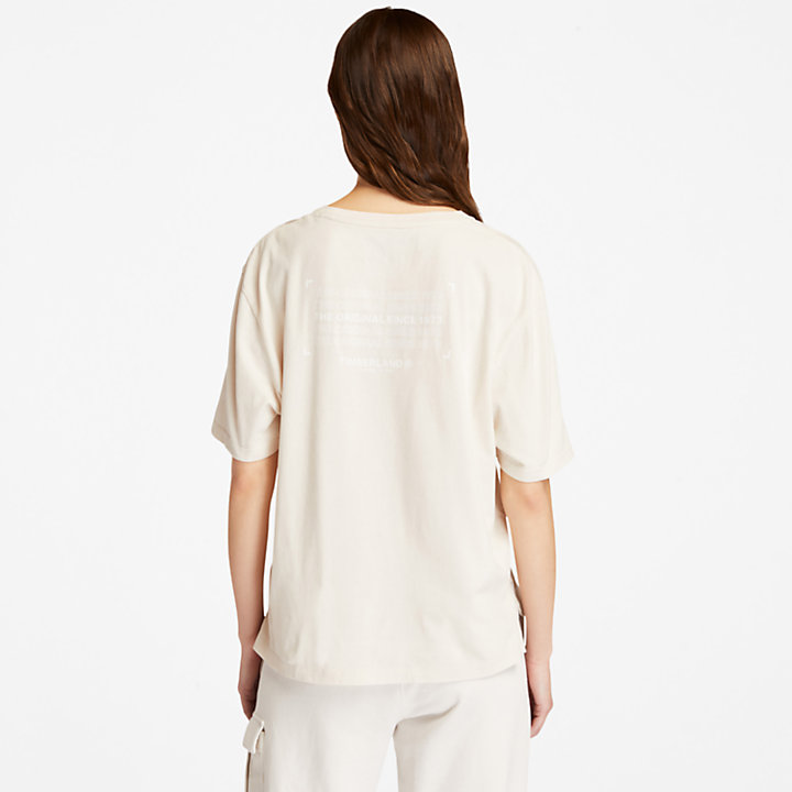 Camiseta Estilo Militar de Algodón Orgánico para Mujer en blanco-