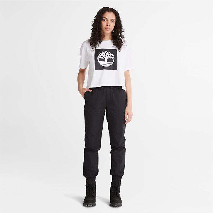 Camiseta Corta con Logotipo de Mujer en blanco-
