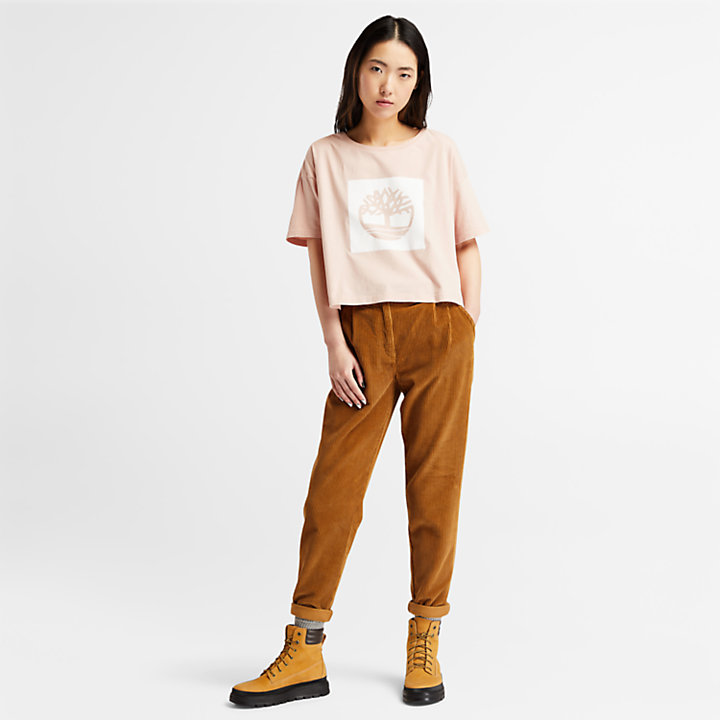 Camiseta Corta con Logotipo de Mujer en rosa claro-