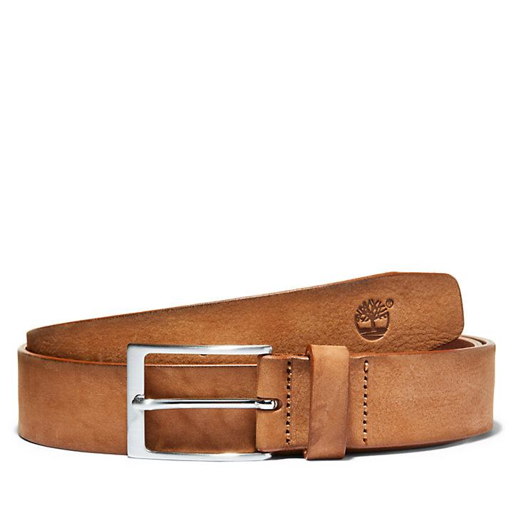 Cinturón en Piel Lavada con Hebilla Cuadrada para Hombre en marrón-