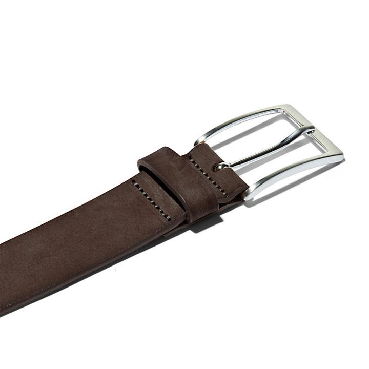 Washed Leather Belt for Men in Dark Brown-