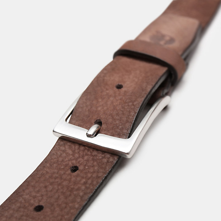 Washed-leather Belt with a Square Buckle for Men in Dark Brown-
