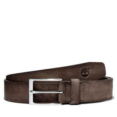 Washed-leather+Belt+with+a+Square+Buckle+for+Men+in+Dark+Brown