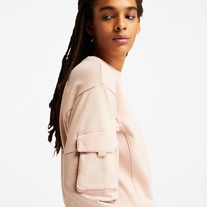 Cropped Cargo Sweatshirt for Women in Light Pink-