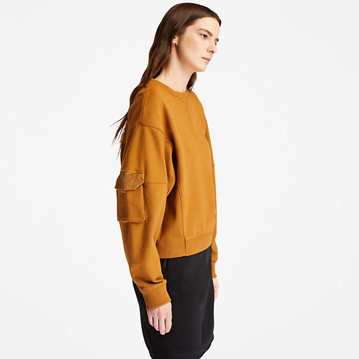 Kurzes Cargo-Sweatshirt für Damen in Hellbraun-