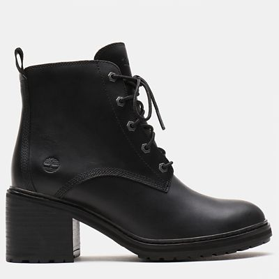 Sienna+High+Lace-Up+Boot+voor+Dames+in+zwart