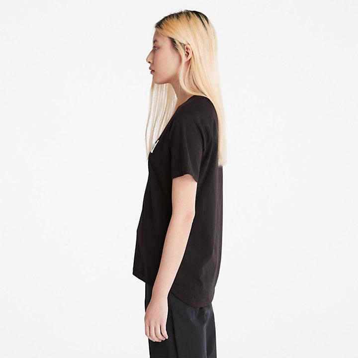 T-shirt met logo voor dames in zwart-
