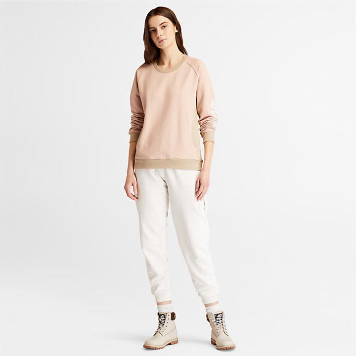 Sweat-shirt à col rond pour femme en rose clair-