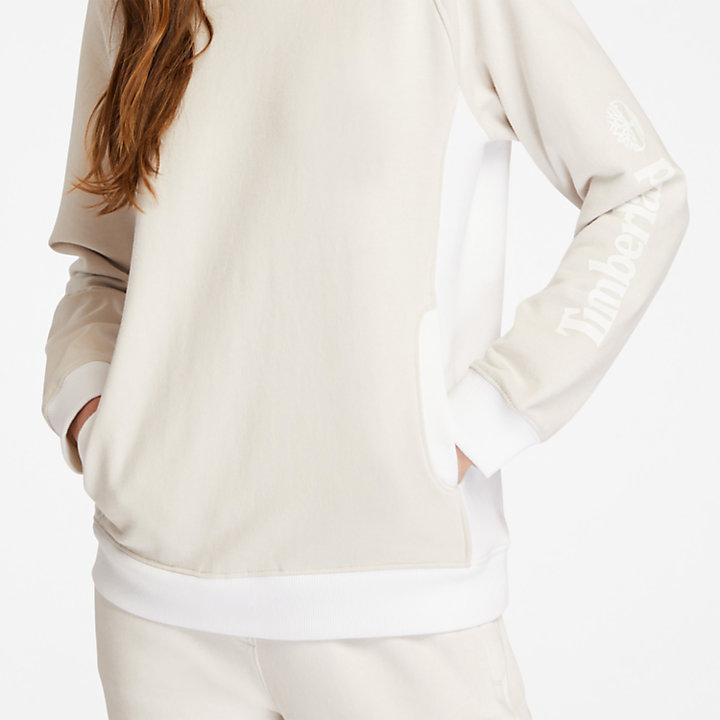 Sudadera de Cuello Redondo para Mujer en blanco-
