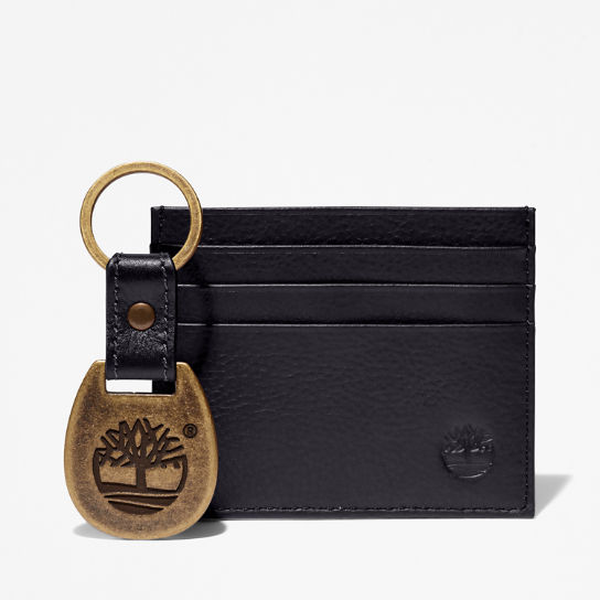 Leather Card Holder & Keyring Gift Set for Men in Black | Timberland