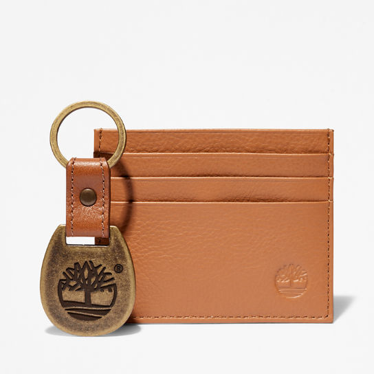 Leather Card Holder & Keyring Gift Set for Men in Brown | Timberland