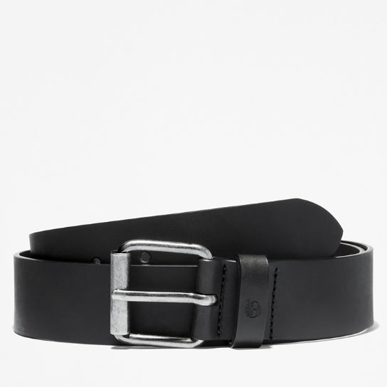 Leather Belt with Antique-style Buckle for Men in Black | Timberland