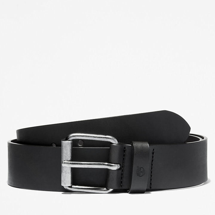 Leather Belt with Antique-style Buckle for Men in Black-
