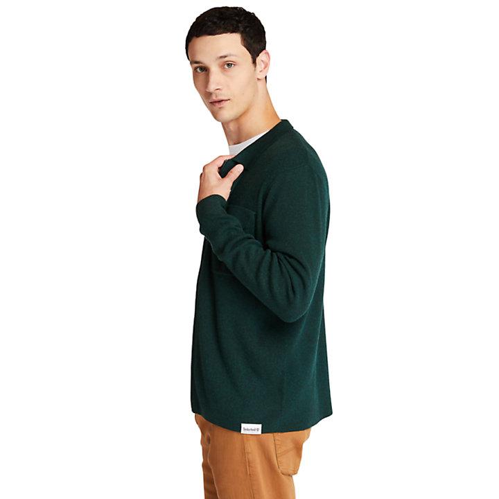 Maglione da Uomo a Zip Intera in verde-