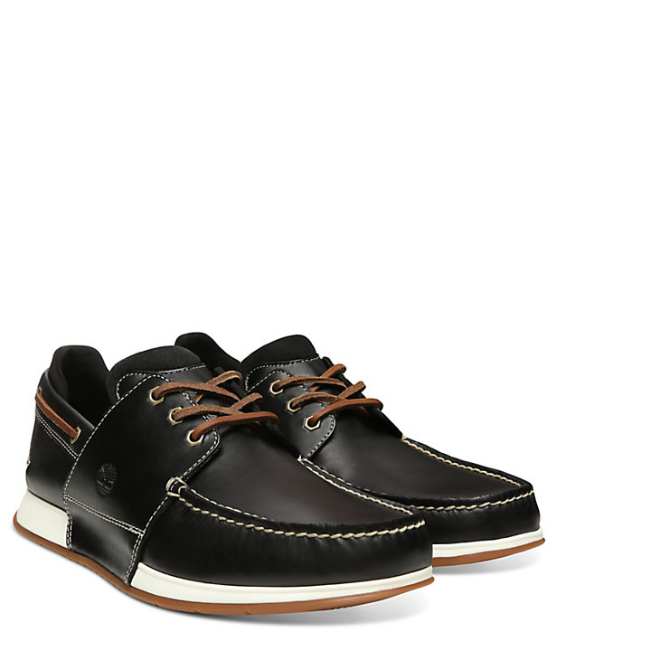 Heger's Bay Boat Shoe for Men in Black-