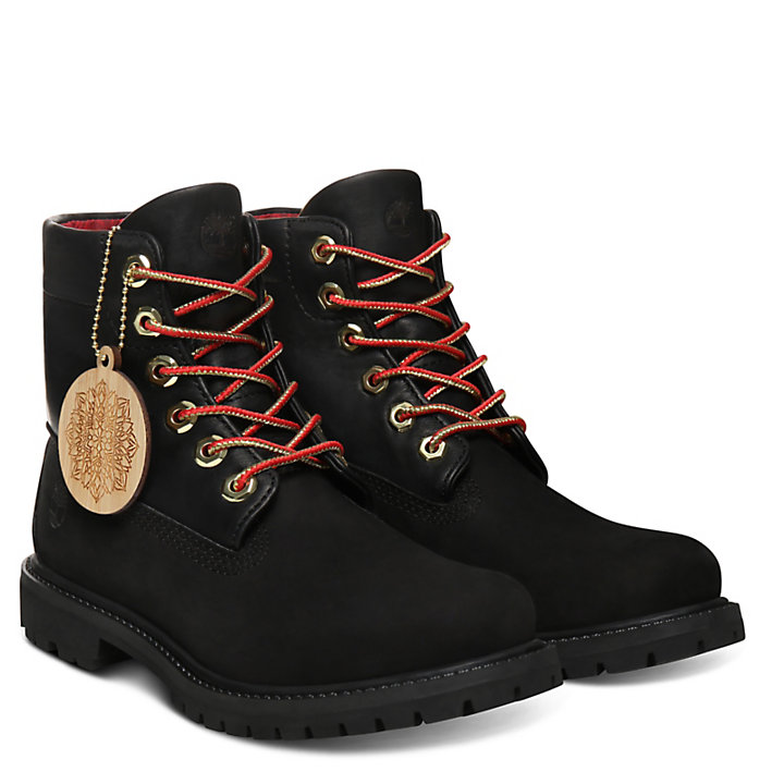 Chinese New Year Roll Top Boot for Women in Black-