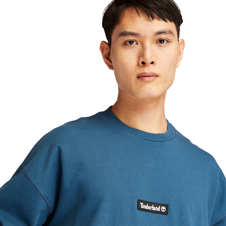 Garment-Dyed Graphic Sweatshirt for Men in Blue-