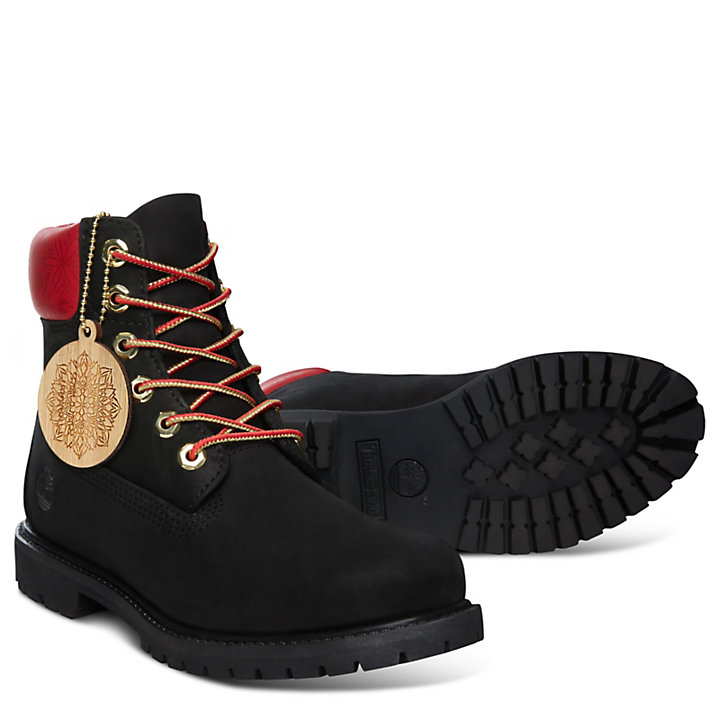 Chinese New Year 6 Inch Boot for Women in Black-