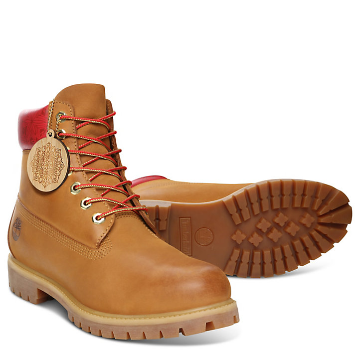 Chinese New Year 6 Inch Boot for Women in Yellow-