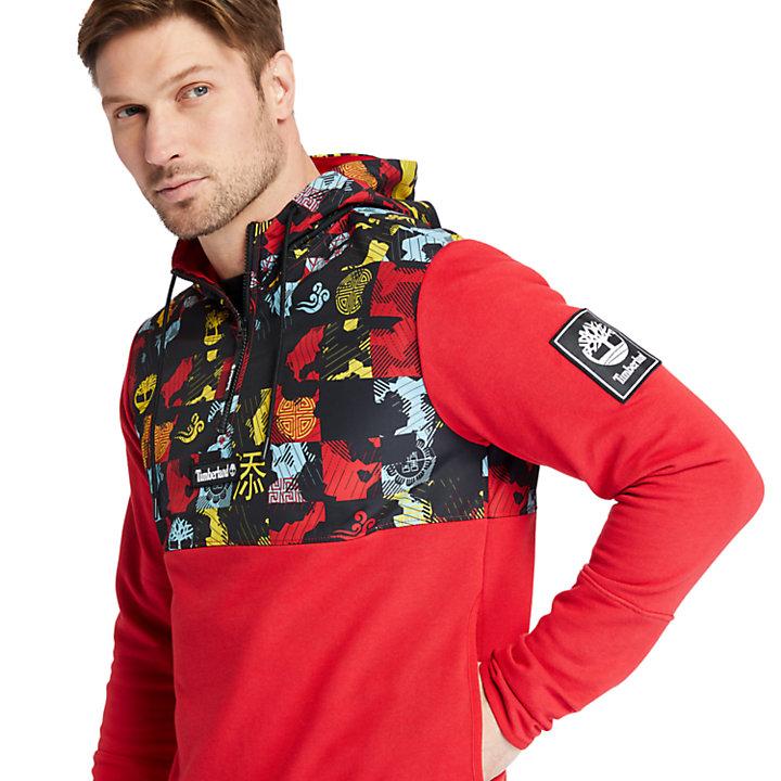 Felpa da Uomo con Cappuccio Capodanno Cinese in rosso-