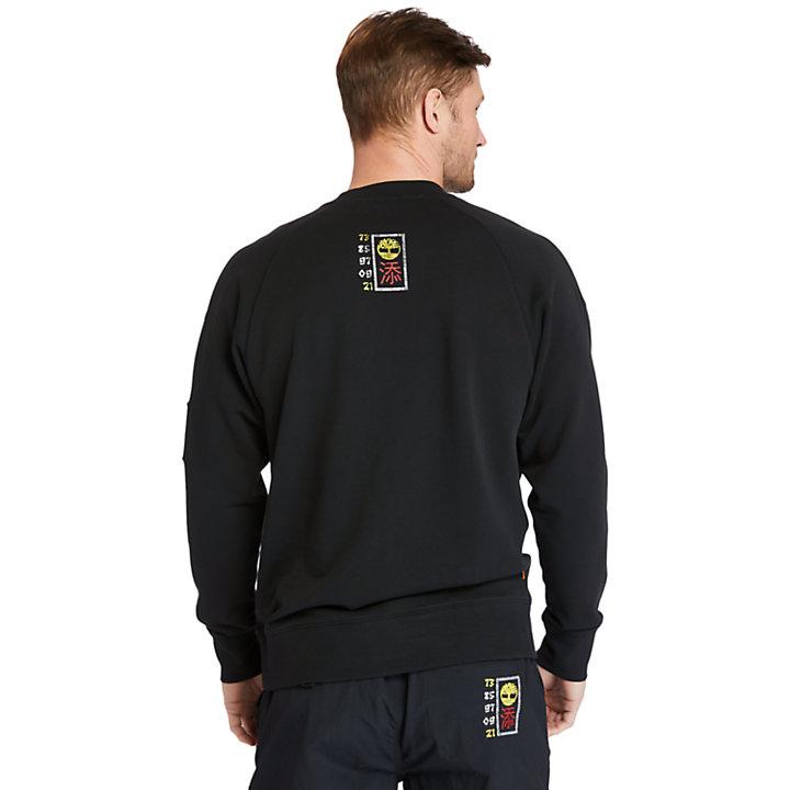 Sweat-shirt imprimé en matières mélangées pour homme en noir-