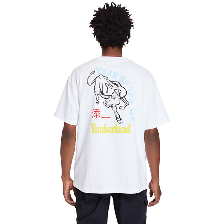 Chinese New Year Graphic T-Shirt for Men in White-