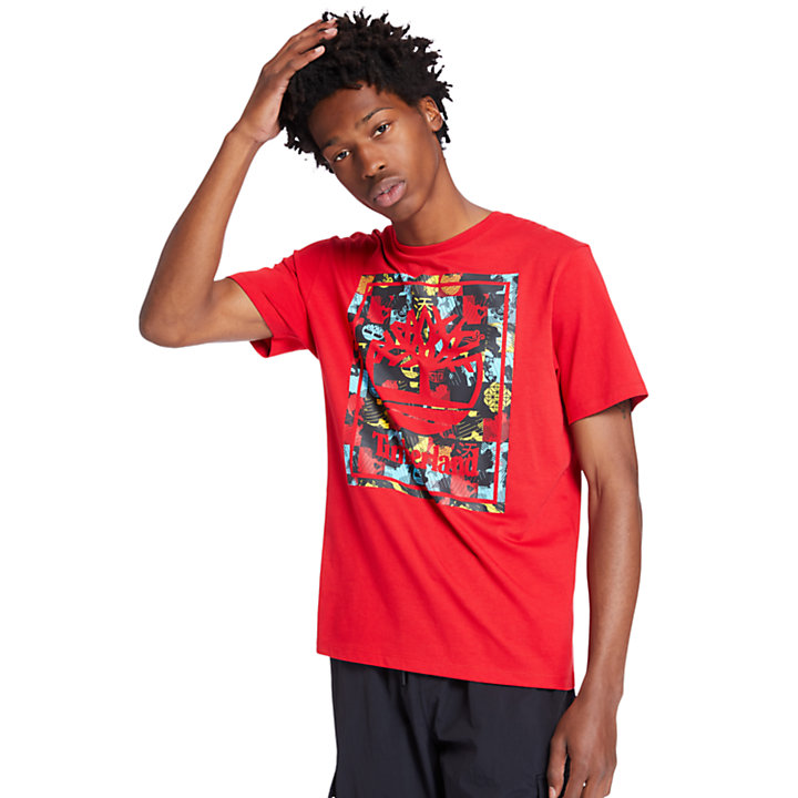 Lunar New Year Logo T-Shirt for Men in Red-