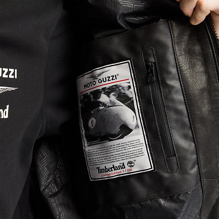 Veste en cuir Moto Guzzi x Timberland® pour homme en noir-