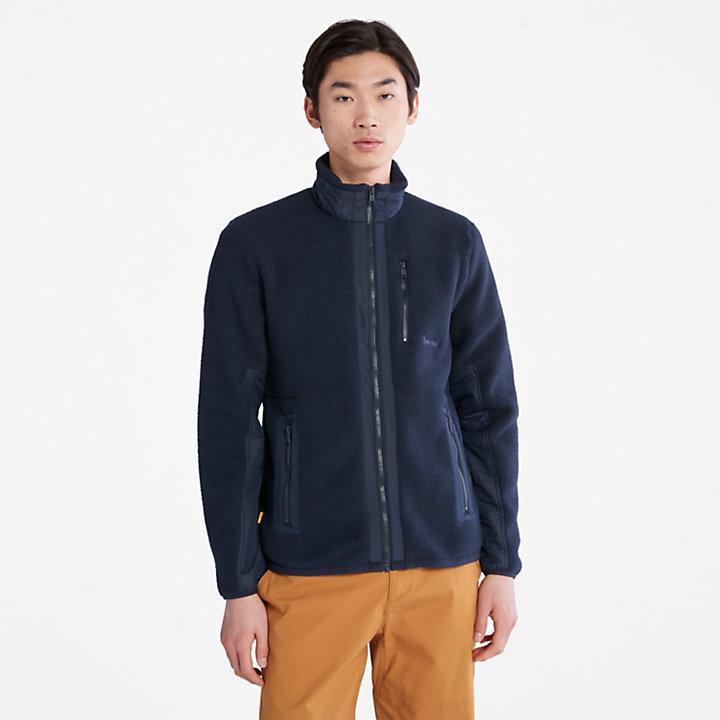 Sherpa Fleece Jacket for Men in Navy-