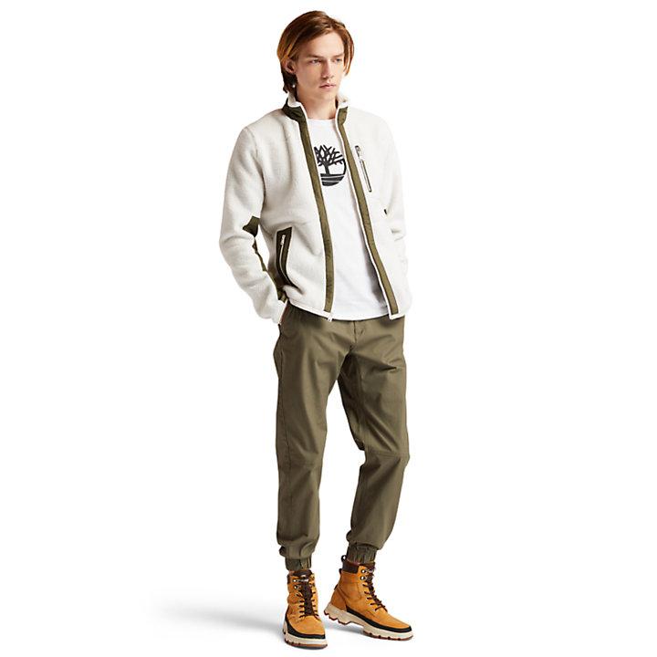 Sherpa Fleece Jacket for Men in White-