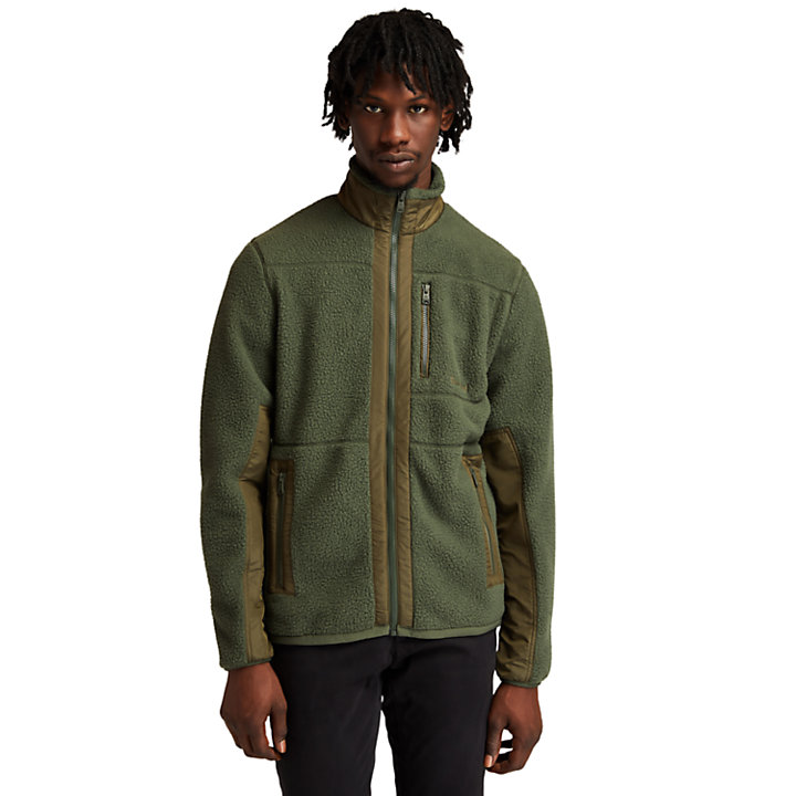 Chaqueta de Felpa Sherpa para Hombre en verde oscuro-