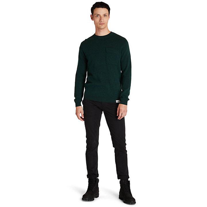 Maglione Girocollo da Uomo con Tasca in verde-