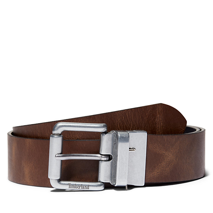 Cinturón Reversible con Hebilla de Rodillo para Hombre en marrón-
