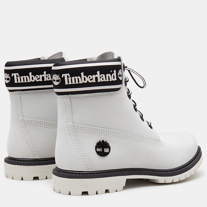 6 Inch Logo Collar Boot for Women in White-