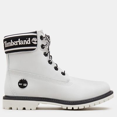 6+Inch+Logo+Collar+Boot+for+Women+in+White