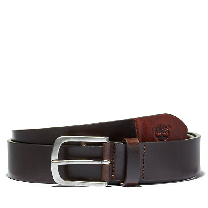 Two-Tone Belt for Men in Dark Brown-
