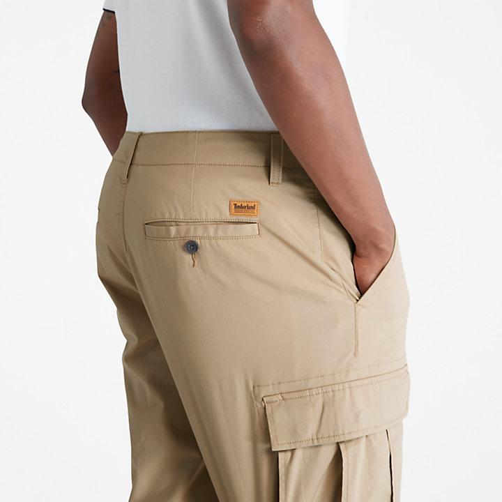 Pantalón Corto Cargo de Popelina para Hombre en beis-