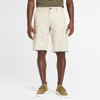 Poplin+Cargo+Shorts+for+Men+in+Beige