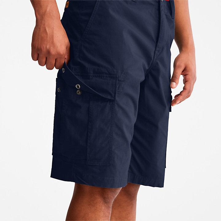 Pantalón Corto Cargo de Popelina para Hombre en azul marino-