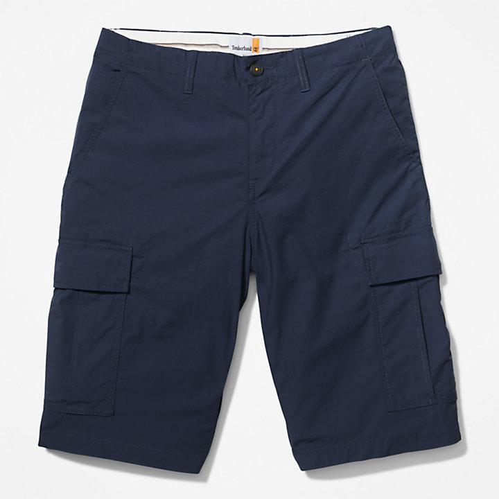 Short cargo en popeline pour homme en bleu marine-