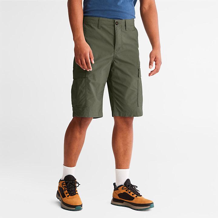 Pantalón Corto Cargo de Popelina para Hombre en verde oscuro-